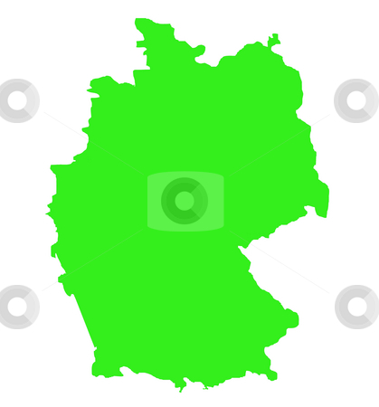 Federal Republic of Germany map outline stock photo, Outline map of Federal Republic of Germany in green isolated on white background. by Martin Crowdy
