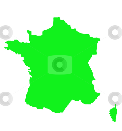 Outline map of France in green stock photo, Outline map of France in green, isolated on white background. by Martin Crowdy