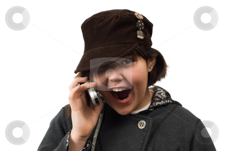 Excited Girl stock photo, Young girl looking excited while talking on a cell phone, isolated against a white background by Richard Nelson