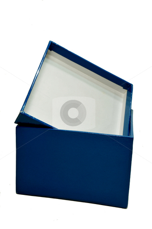 Blue Gift Box stock photo, Empty blue gift box on a ;ight colored background by Lynn Bendickson