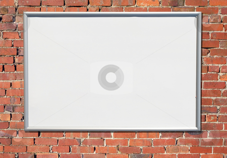 Billboard sign on an old red brick wall. stock photo, Billboard sign on an old red brick wall. by Stephen Rees