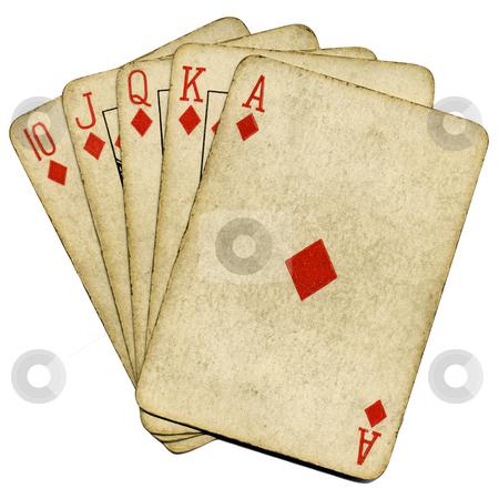 Royal flush old vintage poker cards isolated over white. stock photo, Royal flush old vintage poker cards isolated over white. by Stephen Rees