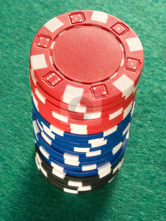 A stack of colorful poker chips. stock photo, A stack of colorful poker chips. by Stephen Rees