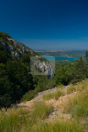 Verdonschlucht, Gorges du Verdon, Grand Canyon du Verdon, Lac de Sainte-Croix stock photo, Die Verdonschlucht (frz. Gorges du Verdon), umgangssprachlich auch Grand Canyon du Verdon, ist eine Schlucht in der franz?sischen Provence, Departement Alpes-de-Haute-Provence. - The Verdon Gorge (in French: Gorges du Verdon or Grand canyon du Verdon), in south-eastern France (Alpes-de-Haute-Provence), is a river canyon that is considered by many to be Europe's most beautiful. by Wolfgang Heidasch