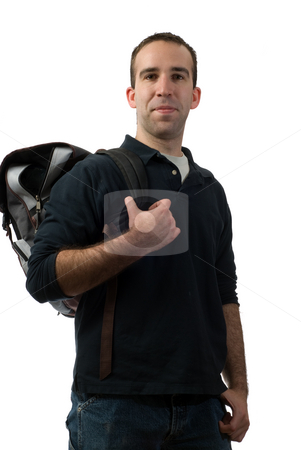 College Student stock photo, College student holding a backpack, isolated against a white background by Richard Nelson