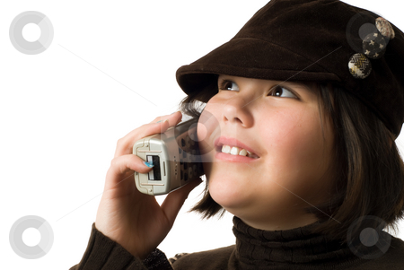 Happy Conversation stock photo, A young girl having a good conversation on the telephone, isolated against a white background by Richard Nelson