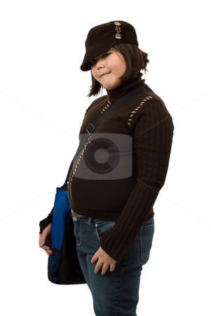 Schoolgirl stock photo, A young schoolgirl isolated against a white background by Richard Nelson