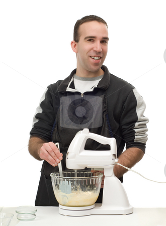 Home Baker stock photo, A young baker is making something at home, isolated against a white background by Richard Nelson