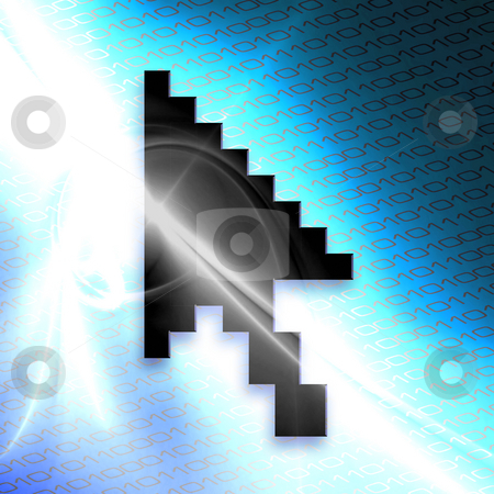Mouse Arrow Cursor stock photo, An illustration of a mouse arrow cursor isolated over a blue binary code abstract background. by Todd Arena