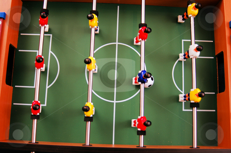 View from above stock photo, View from above on a foosball table by Tim Markley