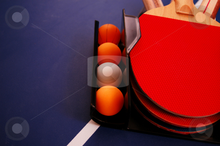 Table tennis stock photo, Ping pong set on a table by Tim Markley