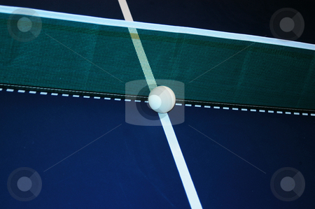 Ball a the net stock photo, Ball at the net on a ping pong table by Tim Markley