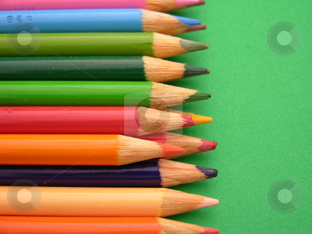 Colored pencils  stock photo, Colored pencils ready for use in school or the office by Tim Markley