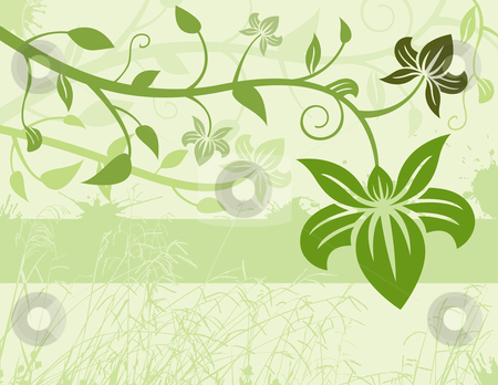 Green Floral Background stock vector clipart, Green Floral Background by Adrian Sawvel