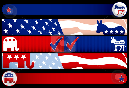 Election Web Banners stock vector clipart, Election Web Banners. Layered .eps file for easy editing by Adrian Sawvel