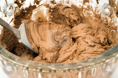 Mixed Chocolate Cookie Batter stock photo, A glass bowl filled with chocolate cookie batter by Richard Nelson