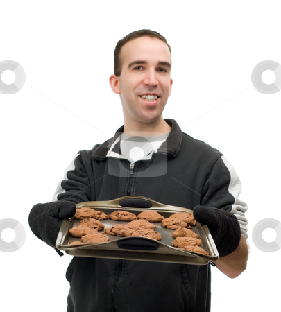 Baker stock photo, A baker with some chocolate chip cookies, isolated against a white background by Richard Nelson