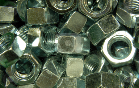 Hex nuts stock photo, A pile of zinc plated hex nuts by Joanna Szycik