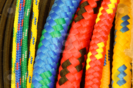 Colorful ropes stock photo, Closeup image of a group of colorful ropes by Joanna Szycik