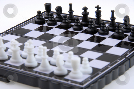 Chess stock photo, Mini chess isolated on a white background by Joanna Szycik
