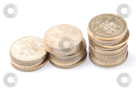 Coins on white stock photo, Some coins on white with place for your writings by Joanna Szycik