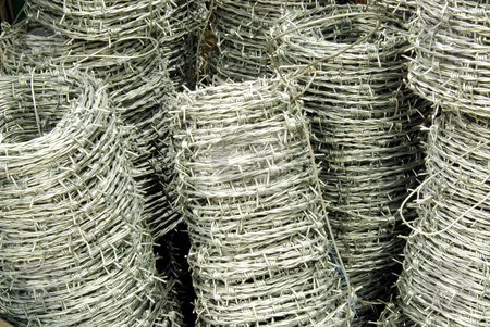 Barbed wire stock photo, Barbed wire in shop ready to buy by Joanna Szycik