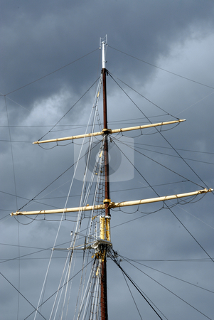 Mast and rigging stock photo, Mast and rigging of a sailing schooner by Joanna Szycik