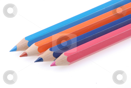 Colored pencil stock photo, Colored pencil on a white background. Close-up. Macro. by Joanna Szycik