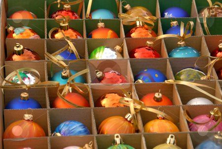Christmas balls stock photo, Lots of blue christmas balls in a box by Joanna Szycik