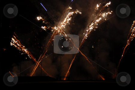Fireworks stock photo, Several bursts of fireworks taken at firefall celebration, crossfire by Joanna Szycik