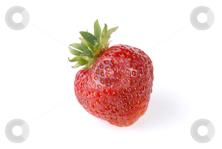 Strawberry stock photo, Single fresh strawberry isolated on white background by Joanna Szycik