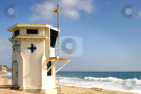 Laguna Beach Lifeguard Tower stock photo, Laguan Beach lifeguard tower witht the ocean in the background. by Henrik Lehnerer