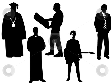 Silhouettes of professions stock vector clipart, Set of professional silhouettes black on white by Vitaliy Hrinchenko