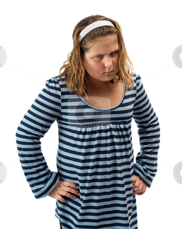 Angry Child stock photo, A young child giving an angry look, isolated against a white background by Richard Nelson