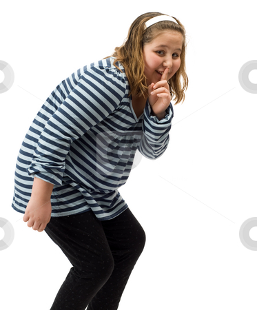 Sneaky Girl stock photo, Young girl sneaking out after bedtime, isolated against a white background by Richard Nelson