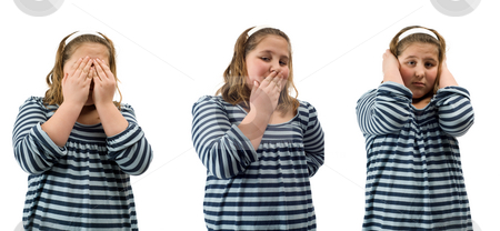 See, Speak and Hear No Evil stock photo, Young girl doing the actions for see, speak, and hear no evil, isolated against a white background by Richard Nelson