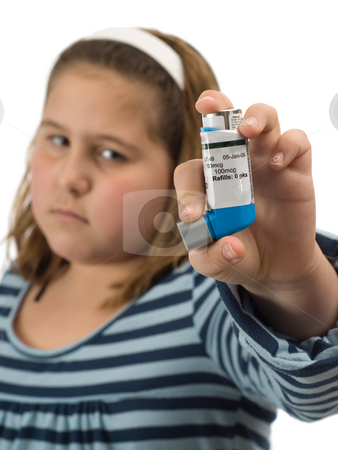 Girl With Asthma stock photo, A young girl with asthma showing her inhaler by Richard Nelson