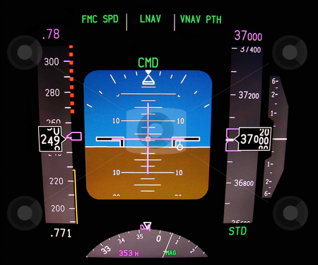 Technology: aircraft flight deck at 37000 ft stock photo, Primary flight display. Instrument panel of a modern airliner. by Fernando Barozza