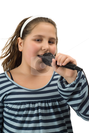 Vocalist stock photo, A young vocalist singing into a microphone, isolated against a white background by Richard Nelson