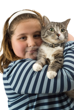 Friendship stock photo, A young girl holding her cat, isolated against a white background by Richard Nelson