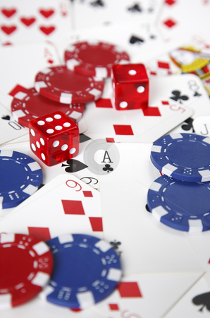 Gambling cards, chips and dice with shallow focus. stock photo, Gambling cards, chips and dice with shallow focus. by Stephen Rees