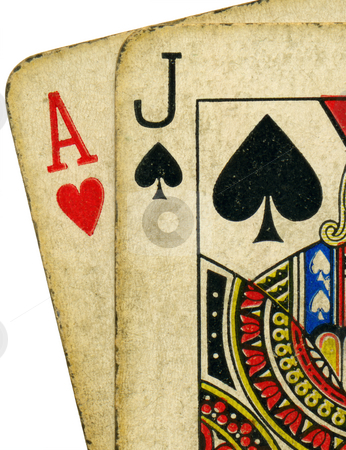 Close up of vintage dirty blackjack cards. stock photo, Close up of vintage dirty blackjack cards. by Stephen Rees
