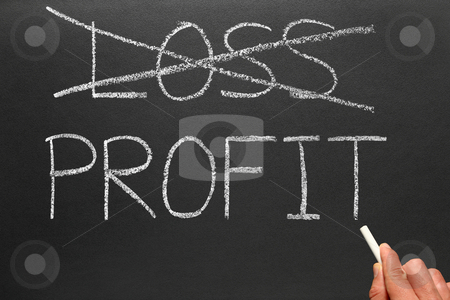Crossing out loss and writing profit on a blackboard. stock photo, Crossing out loss and writing profit on a blackboard. by Stephen Rees