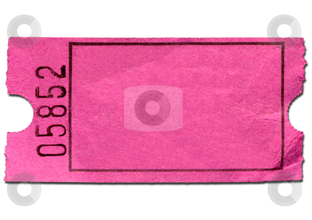 Colorful pink blank admission ticket, isolated on a  white background. stock photo, Colorful pink blank admission ticket, isolated on a  white background. by Stephen Rees