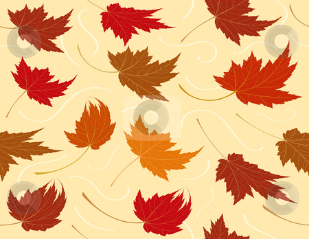 Seamless Repeating Fall Leaf Background stock vector clipart, Seamless Repeating Fall Leaf Background by Adrian Sawvel