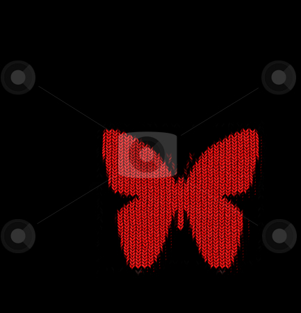 Knitted butterfly stock photo, Bright red butterfly shape in knitting pattern on black by Wino Evertz