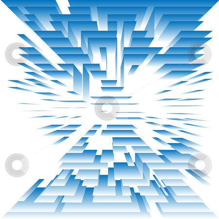 Abstract Architecture of Technology Levels and Layers on White stock vector clipart, A digital technolgy background abstract of a structure of levels of blue planes on white. by Michael Brown