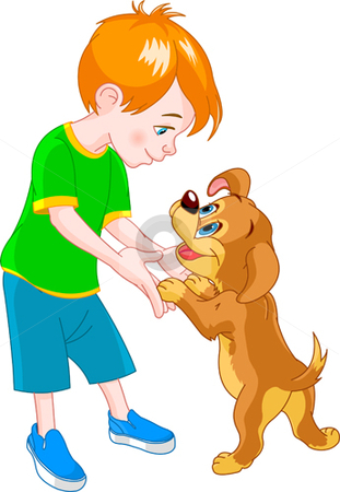 Boy and dog stock vector clipart, Red Hair boy playing with cute puppy by Anna Vtlichkovsky