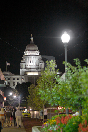Rhode Island Capital Building stock photo, A night time view of the capital building in Providence Rhode Island. by Todd Arena