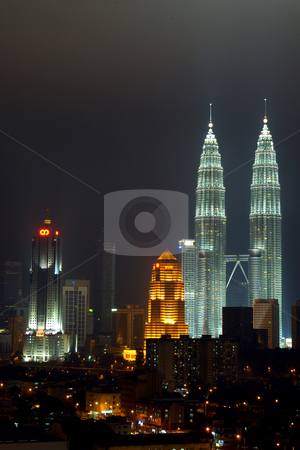 KLCC stock photo, Twin Tower KLCC at Kualal Lumpur, Malaysia at night by Aminor Azmi Abdul Latip